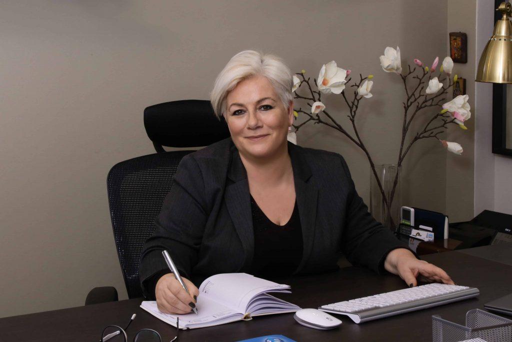 Eleni Skitzi in the office